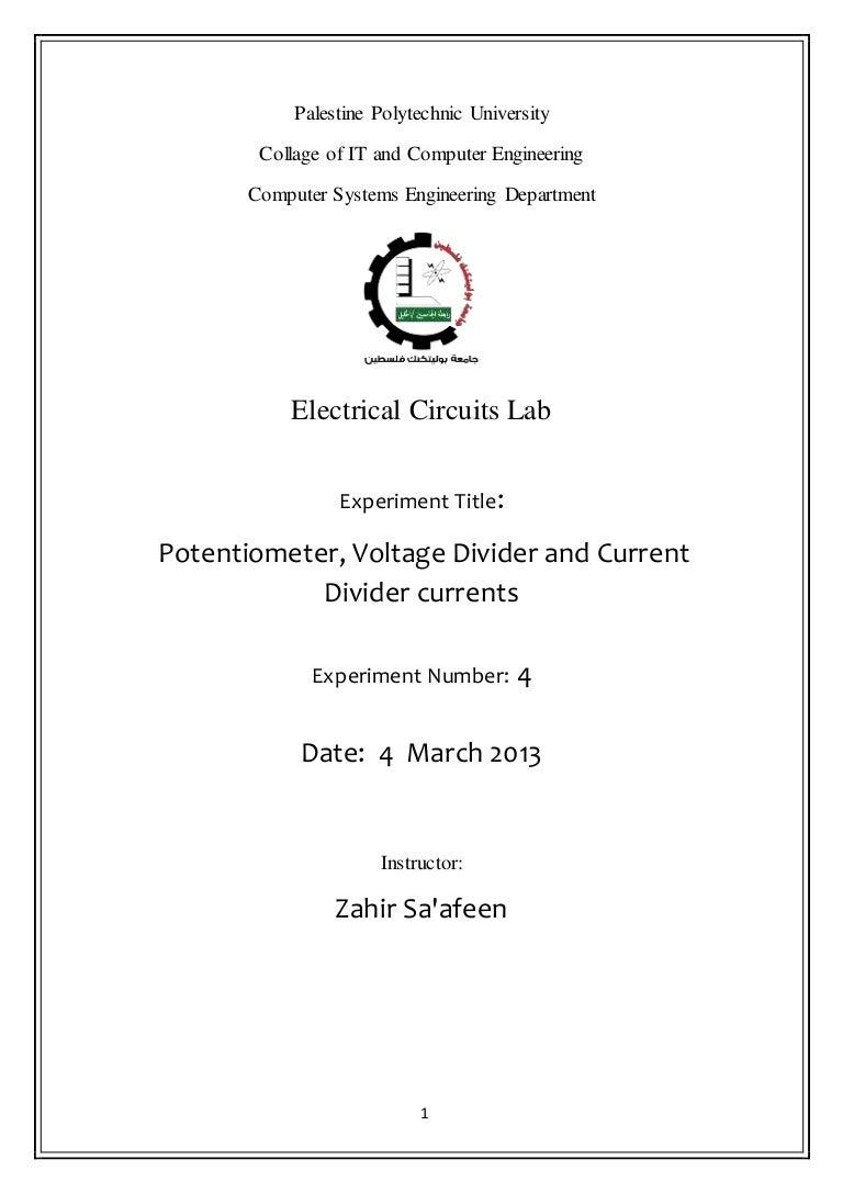 Lab 4 Potential Divider Circuit 1