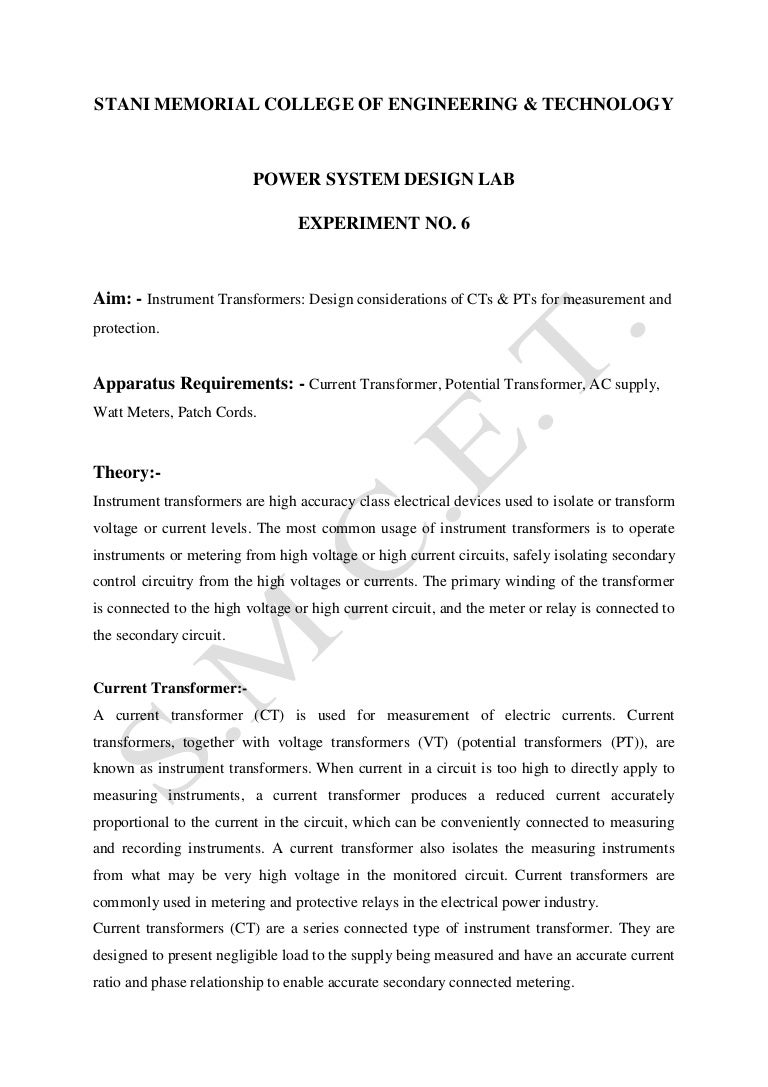 Lab Manual Psd V Sem Experiment No 6 Current Transformer In Relay