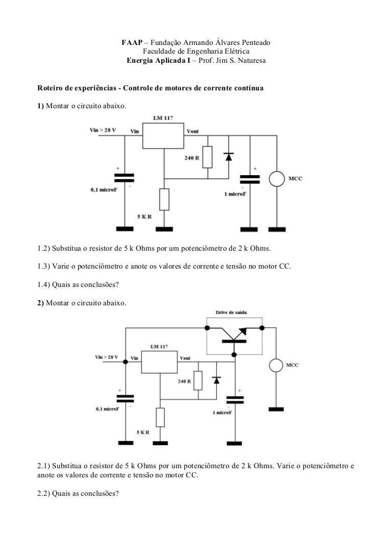Circuito Cc : Laboratório motores cc