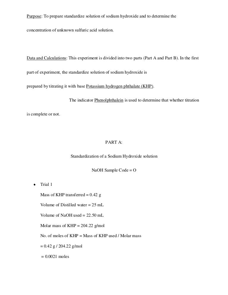Chemistry Lab Report On Standardization Of Acid And Bases.