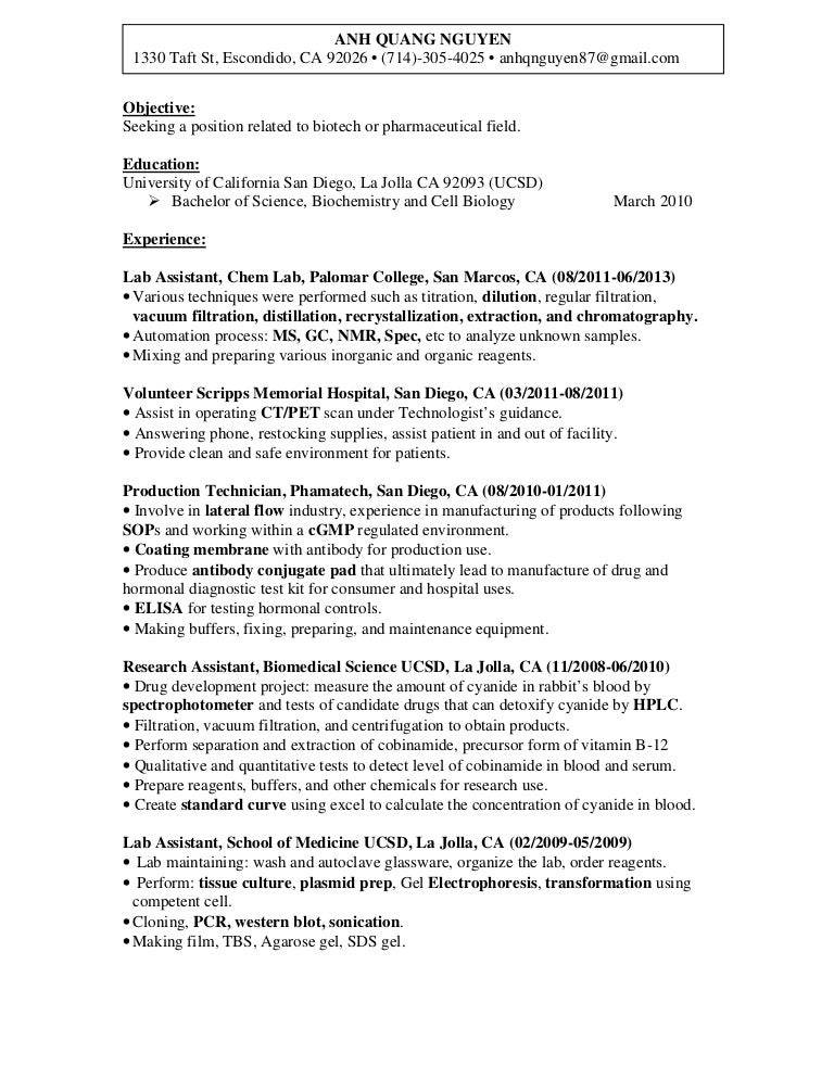 anh nguyen laboratory technician resume in san diego ca biotechp - Lab Tech Resume