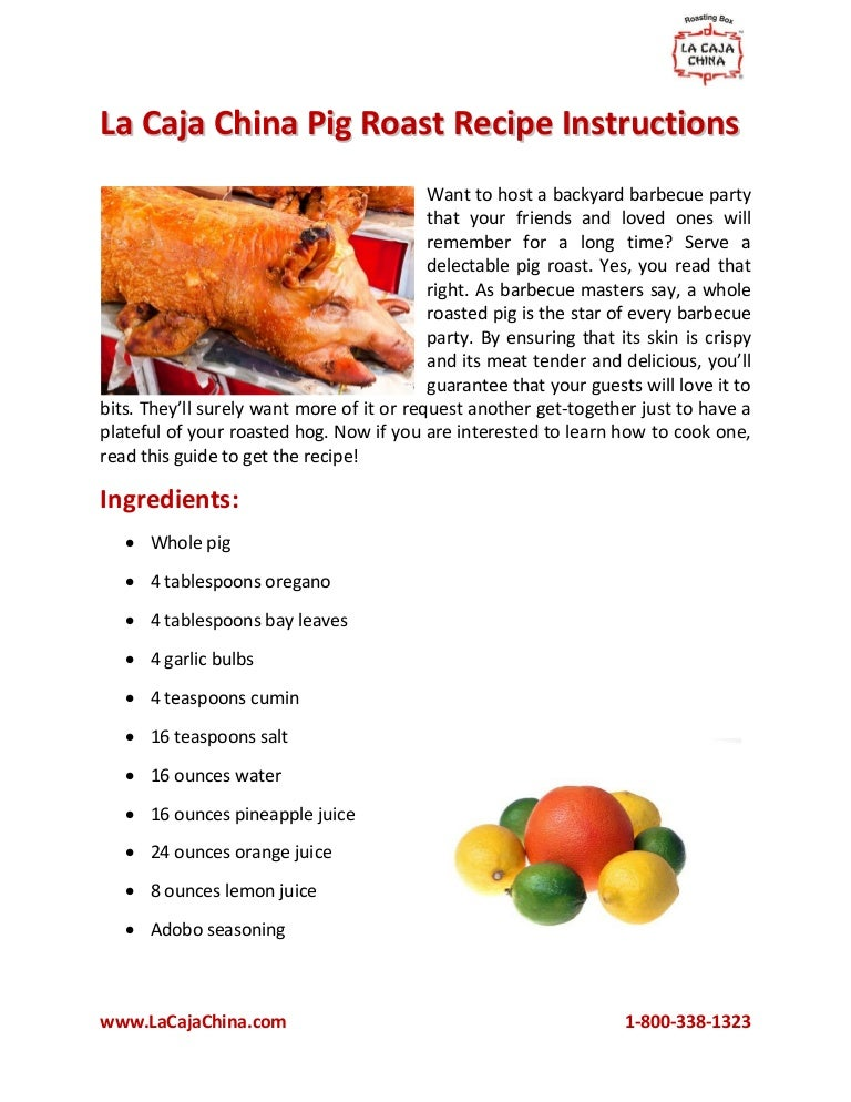 Caja china pig roast instructions.