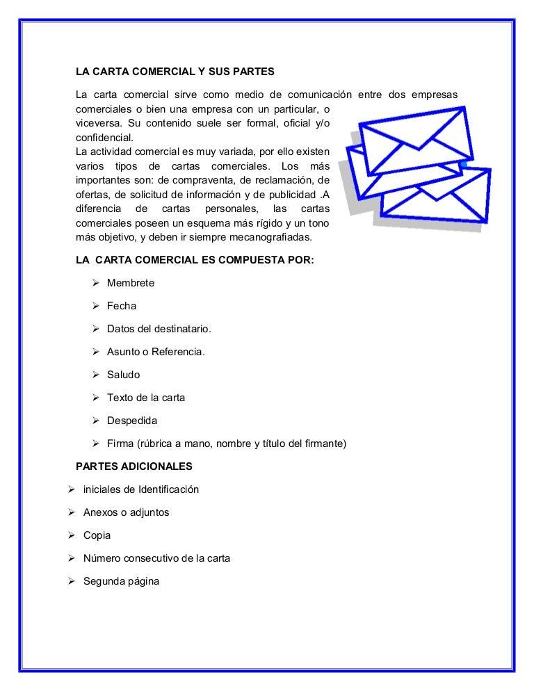 La carta comercial y sus partes.