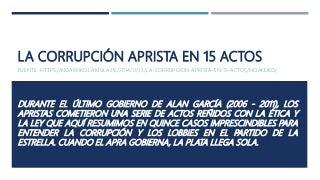 La corrupción aprista en 15 actos