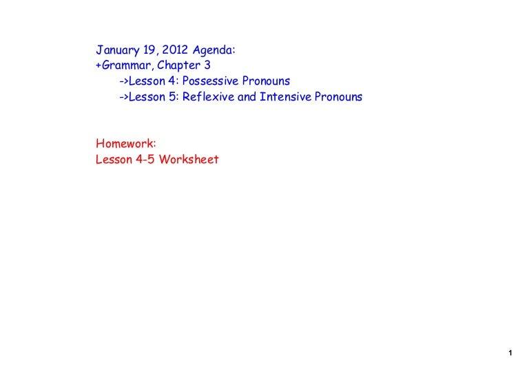 LA ElectiveChapter 3 Lessons 45 – Intensive Pronouns Worksheet