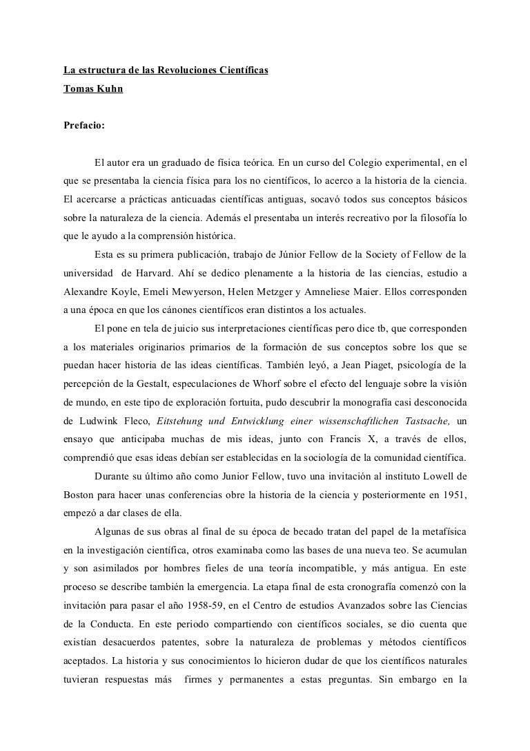 La estructura de las revoluciones cientificas kuhn resumen