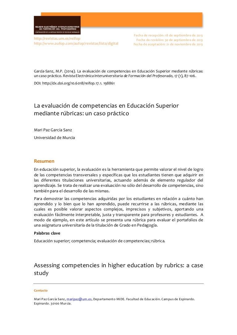 La evaluaciñon de competencias en educación superior