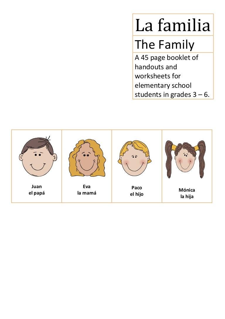 worksheet La Familia Worksheets la familia spanish elementary school the family