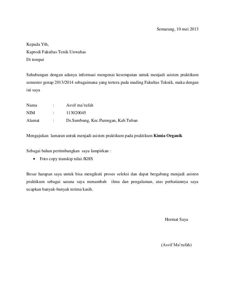 Contoh Surat Lamaran Asisten Lab