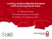 Learning Analytics Metadata Standards, xAPI recipes & Learning Record Store -