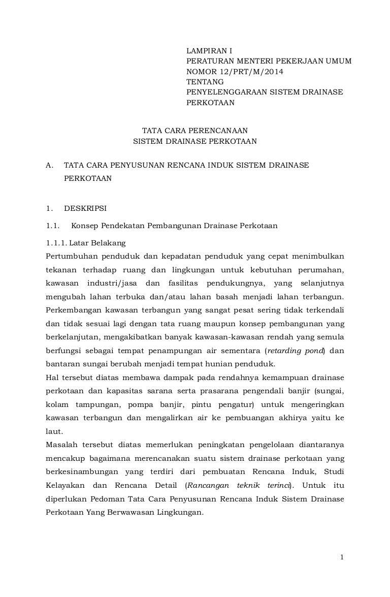 Permen PU No 12 Tahun 2014 Tentang Drainase Perkotaan Lamp1