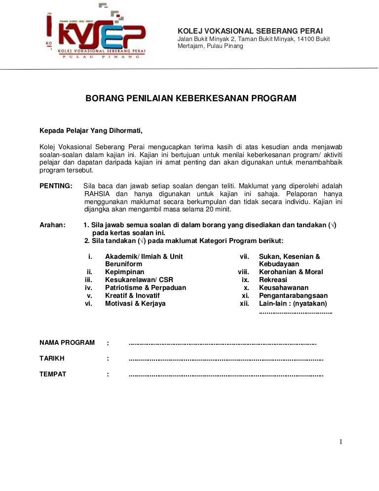 Lampiran 5 1 22 Borang Penilaian Kursusl Program