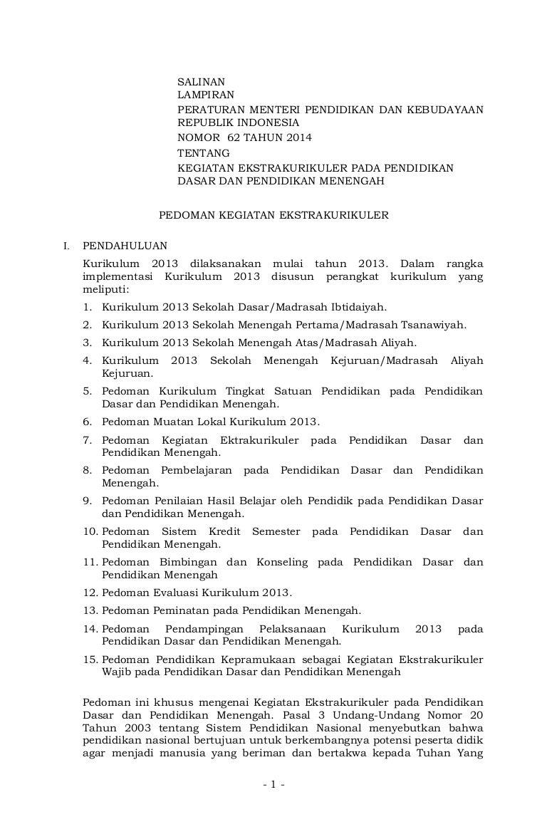 Lampiran Permen Nomor 62 Tahun 2014 Tentang Ekstrakurikuler