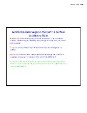 Landforms And Changes In The Earths Surface Vocab