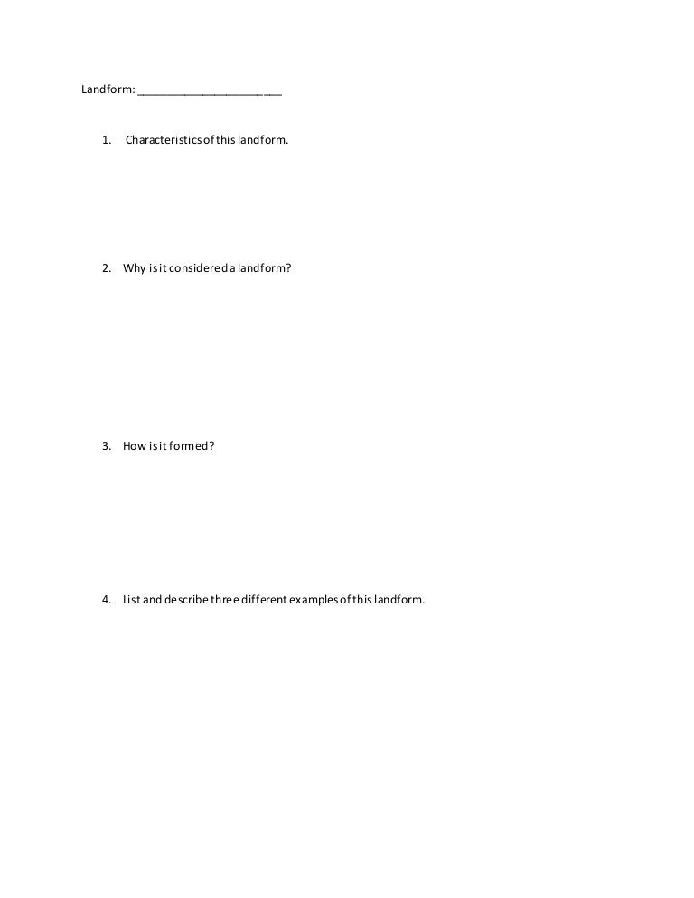 Landform Worksheet