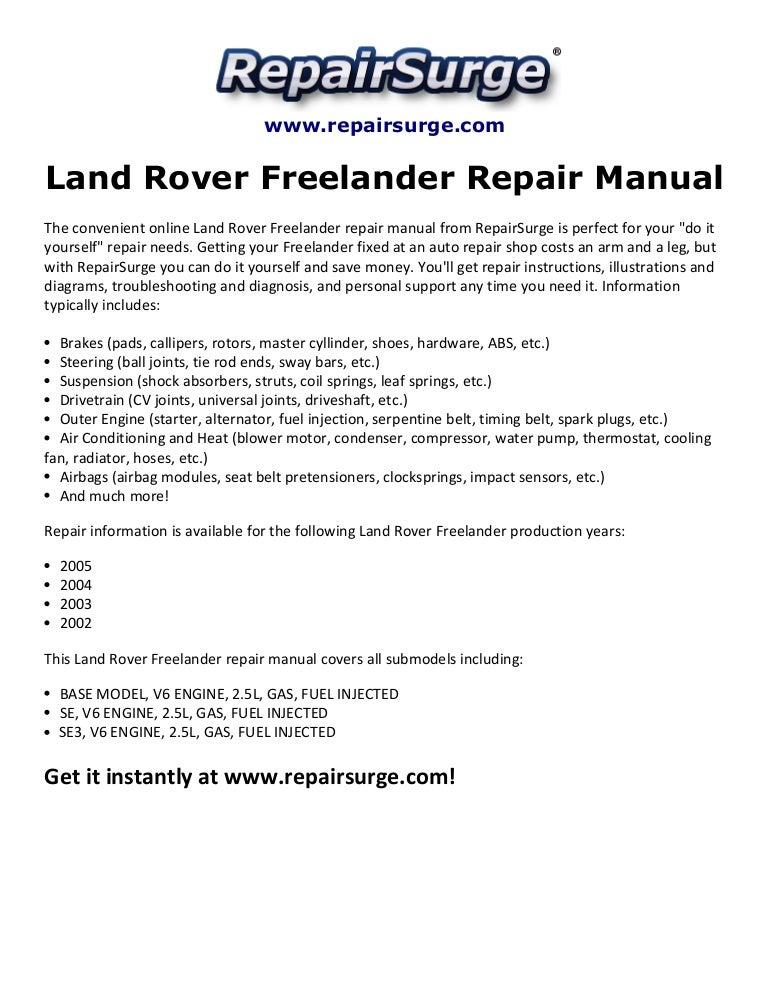 [DIAGRAM_5NL]  Land rover freelander repair manual 2002 2005 | 2002 Land Rover Engine Diagram |  | SlideShare