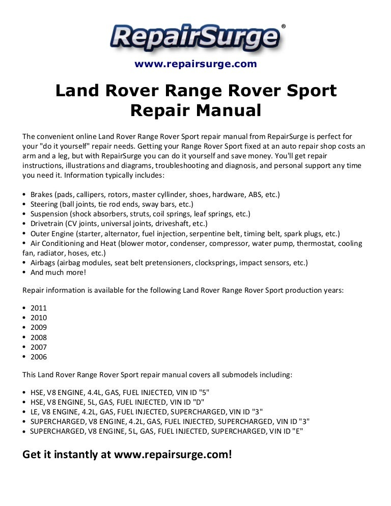 land rover range rover sport repair manual 2006 2011 rh slideshare net range rover sport 2007 owners manual range rover sport 2007 repair manual