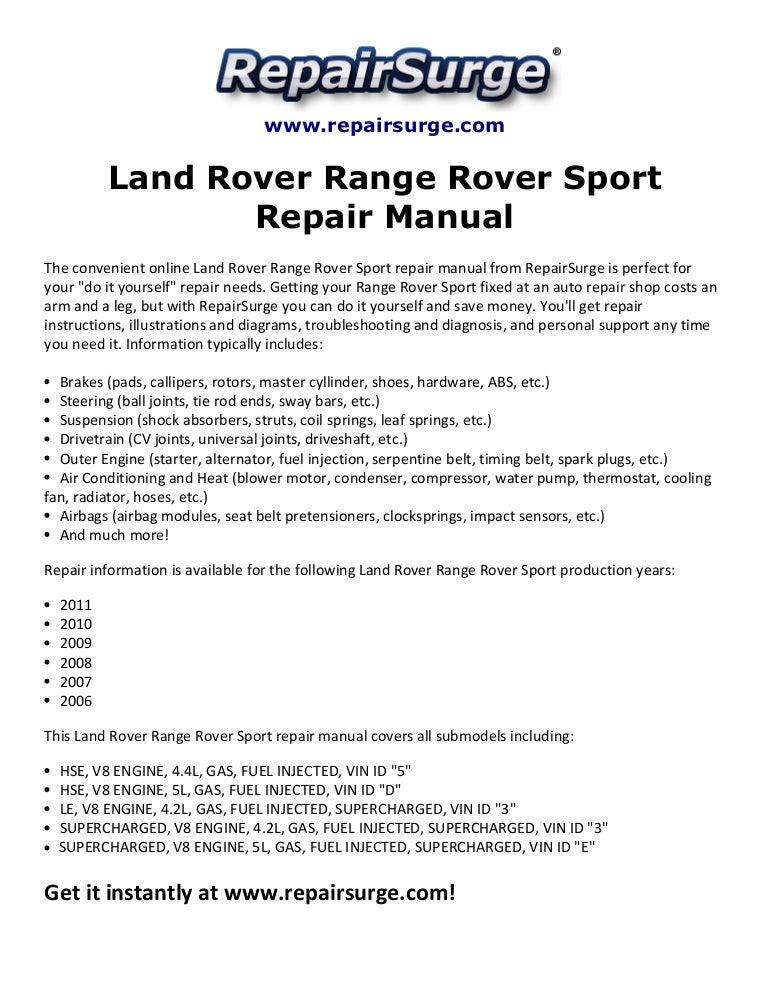 land rover range rover sport repair manual 2006 2011 rh slideshare net 2006 range rover hse repair manual 2006 range rover hse repair manual