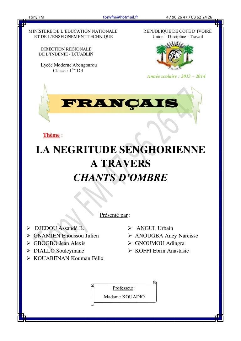 La Negritude Senghorienne Expose Complet Avec Tony Fm 47962647
