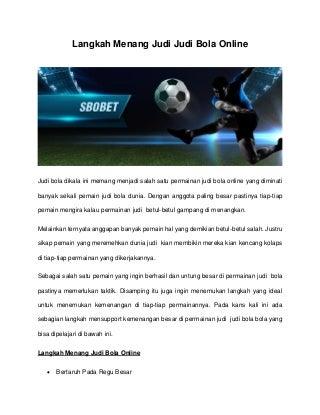 Langkah menang judi judi bola online