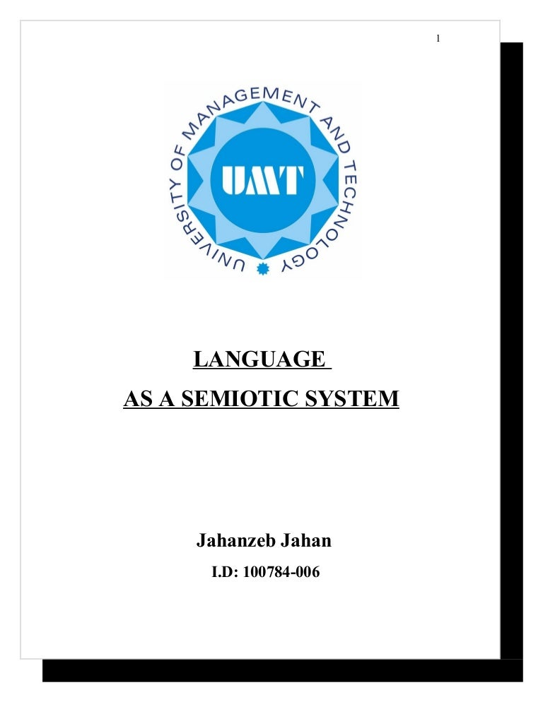 language as semiotic system assignment