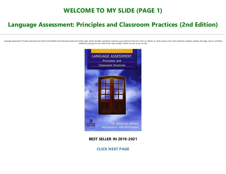 Free Read Book [PDF] Language Assessment: Principles and Classroom Practices (2nd Edition) Full AudioBook
