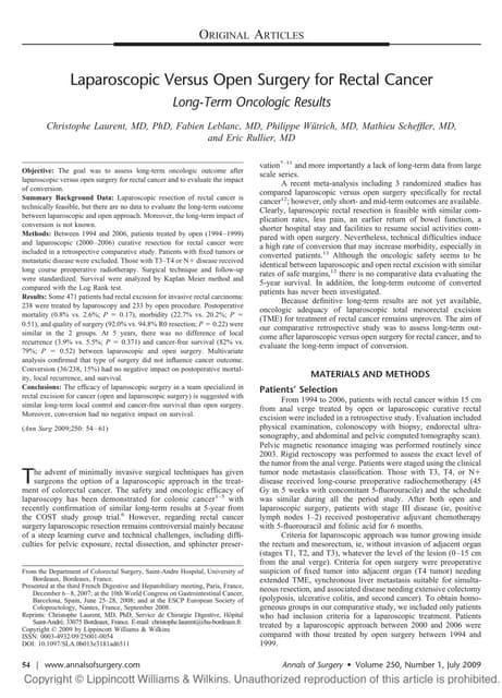 Laparoscopic In Ca Rectal