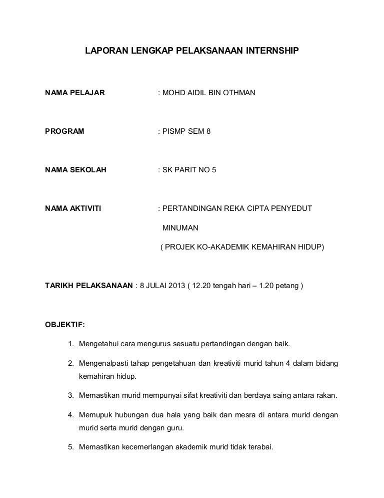 Laporan Pelaksanaan Internship Lengkap