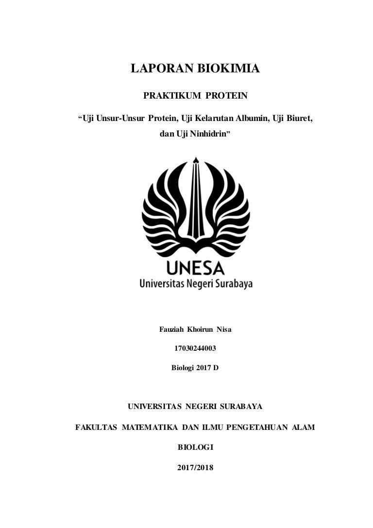 Laporan Biokimia Praktikum Protein Uji Unsur Unsur Protein Uji Kela