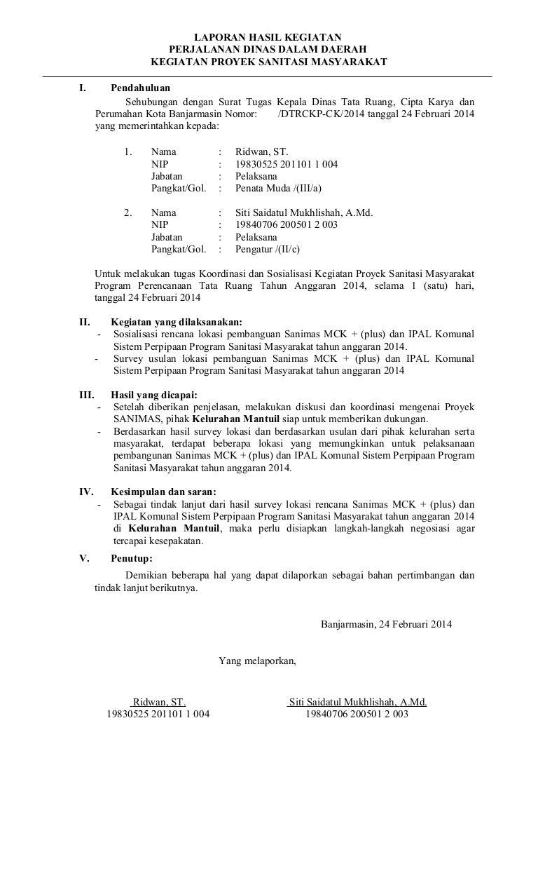 Contoh Laporan Perjalanan Dinas Konsultasi Dan Koordinasi Kumpulan Contoh Laporan
