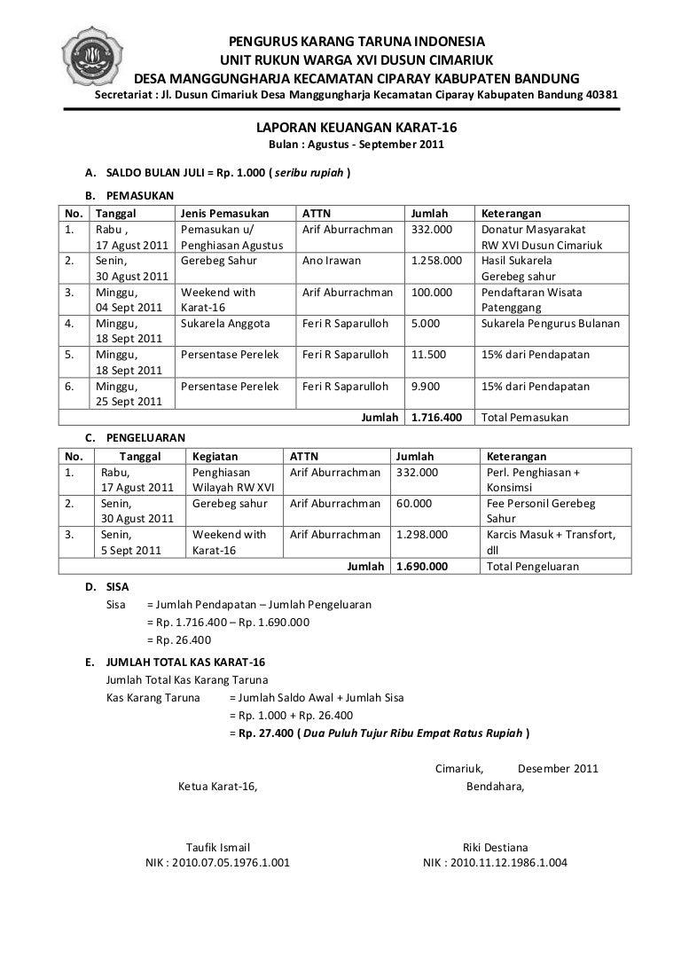 Laporan Keuangan Agustus 5 Desember