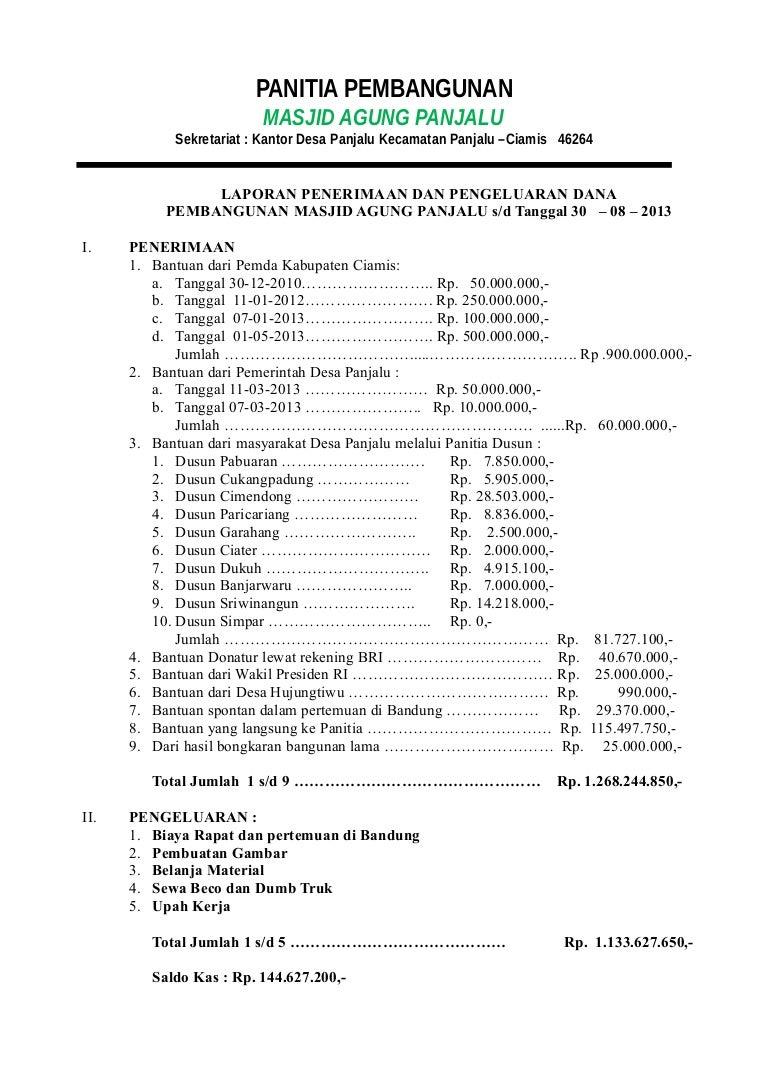 Contoh Laporan Pertanggungjawaban Keuangan Karang Taruna Kumpulan Contoh Laporan