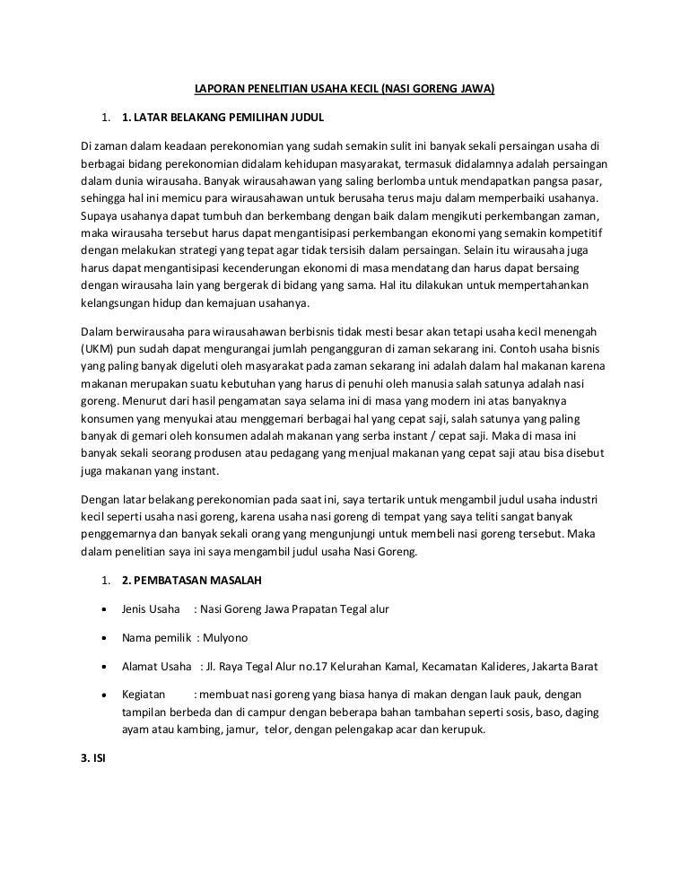 Contoh Laporan Hasil Observasi Usaha Kecil Kumpulan Contoh Laporan