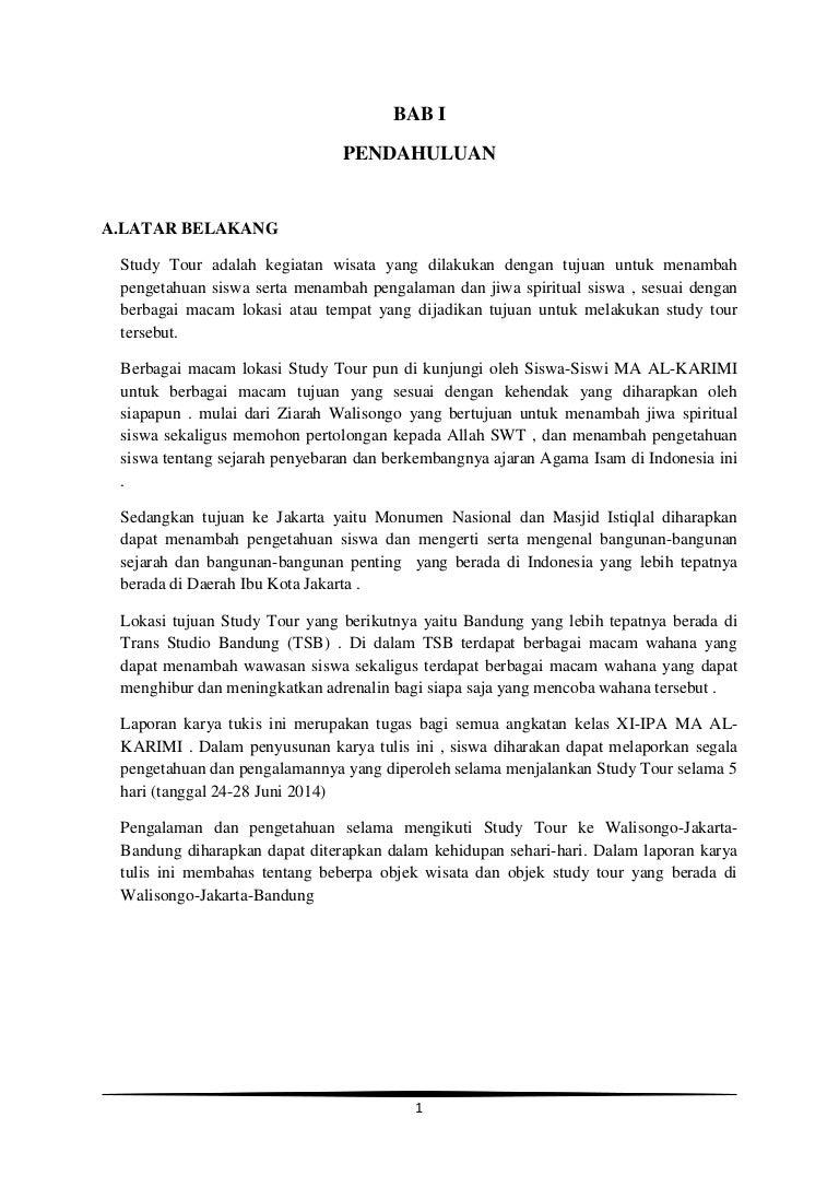 Contoh Kata Pengantar Laporan Study Tour Jakarta Bandung Kumpulan Contoh Laporan