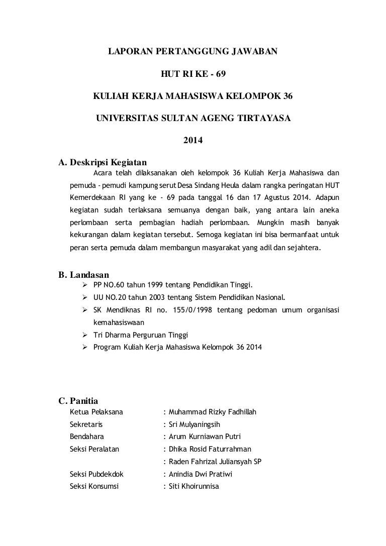 Contoh Laporan Pertanggungjawaban Keuangan Kegiatan 17 Agustus Kumpulan Contoh Laporan