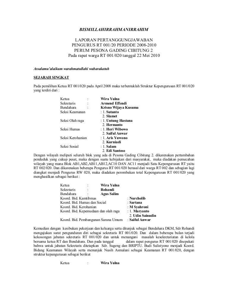 Contoh Surat Pengunduran Diri Ketua Rt