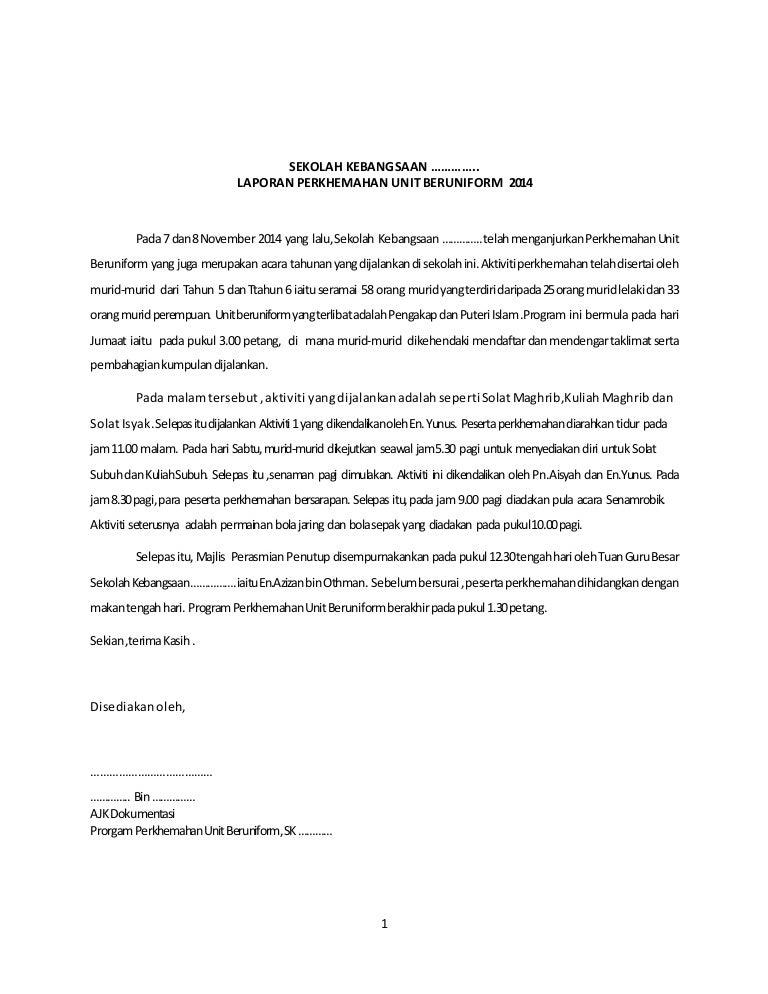 Laporan Program Perkhemahan Unit Beruniform 2014