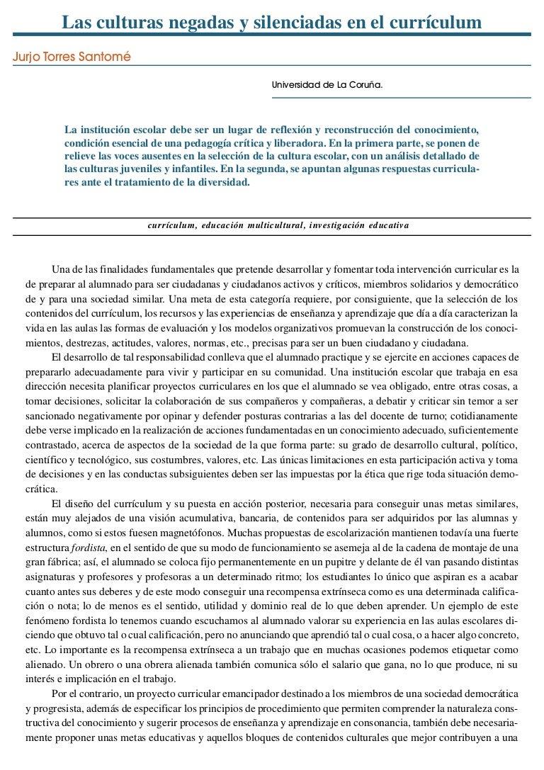 Las culturas negadas y silenciadas en el curriculum - Jurjo Torres Sa…