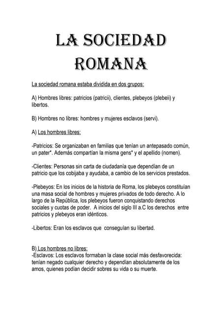 La Sociedad Romana Resumen Manuelgil