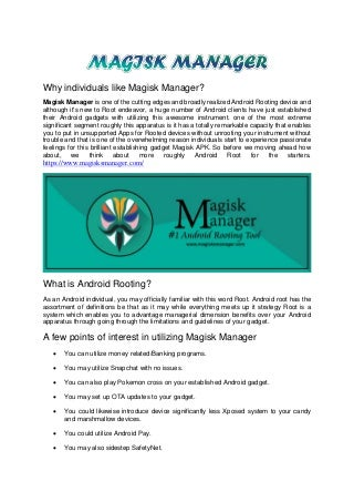 Latest magisk manager apk download on your android devices