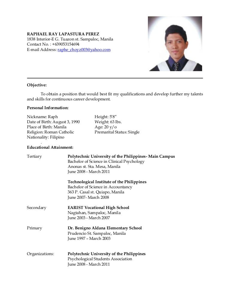 Resume Example Of A Resume In Philippines latest resume
