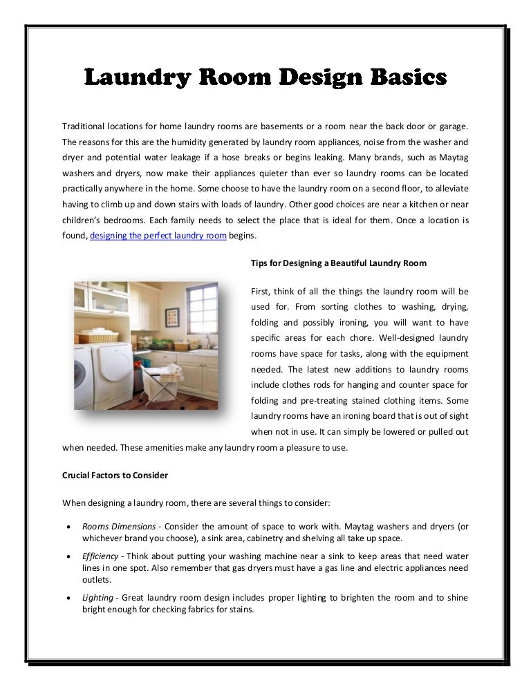 Laundry room design basics