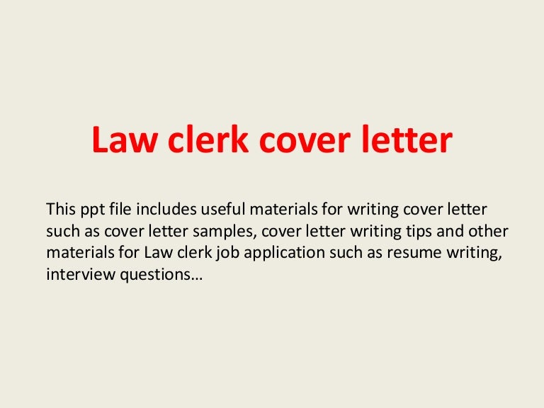 Law Clerk Cover Letter Sample | Resume CV Cover Letter
