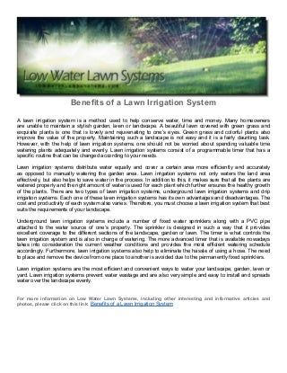 benefits of a lawn irrigation system