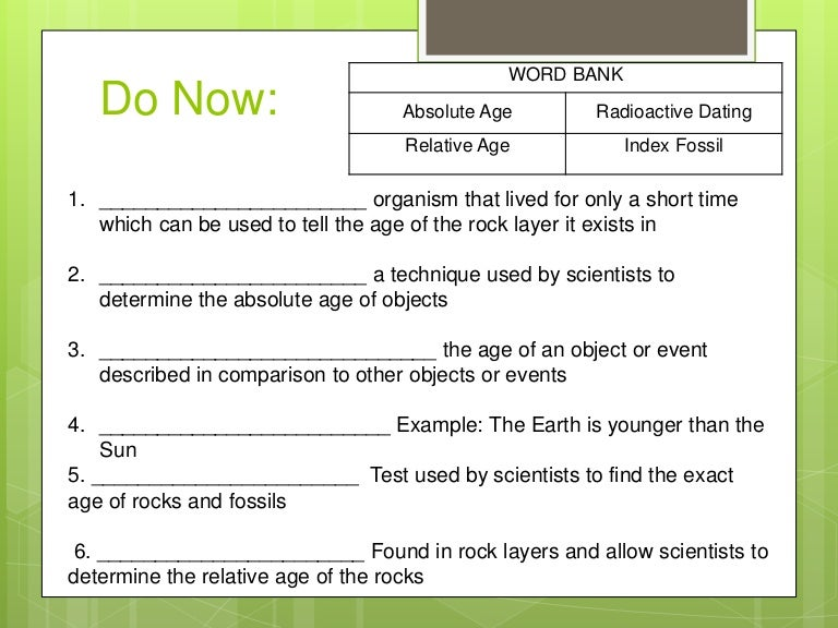 Fossil Relative Dating Technique