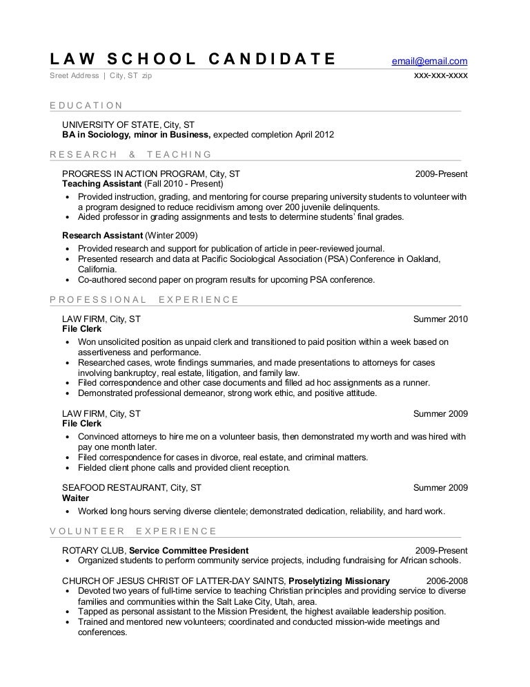 law student sample resume