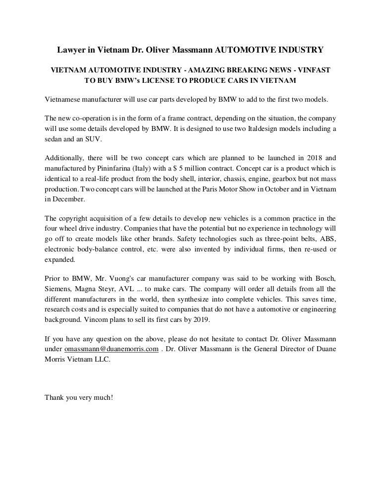 Lawyer in Vietnam Dr  Oliver Massmann AUTOMOTIVE INDUSTRY