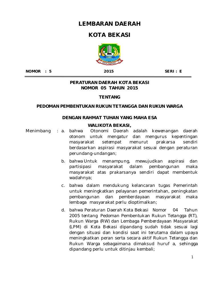 Lembaran Daerah Kota Bekasi Perda No 05 Tahun 2015 Tentang