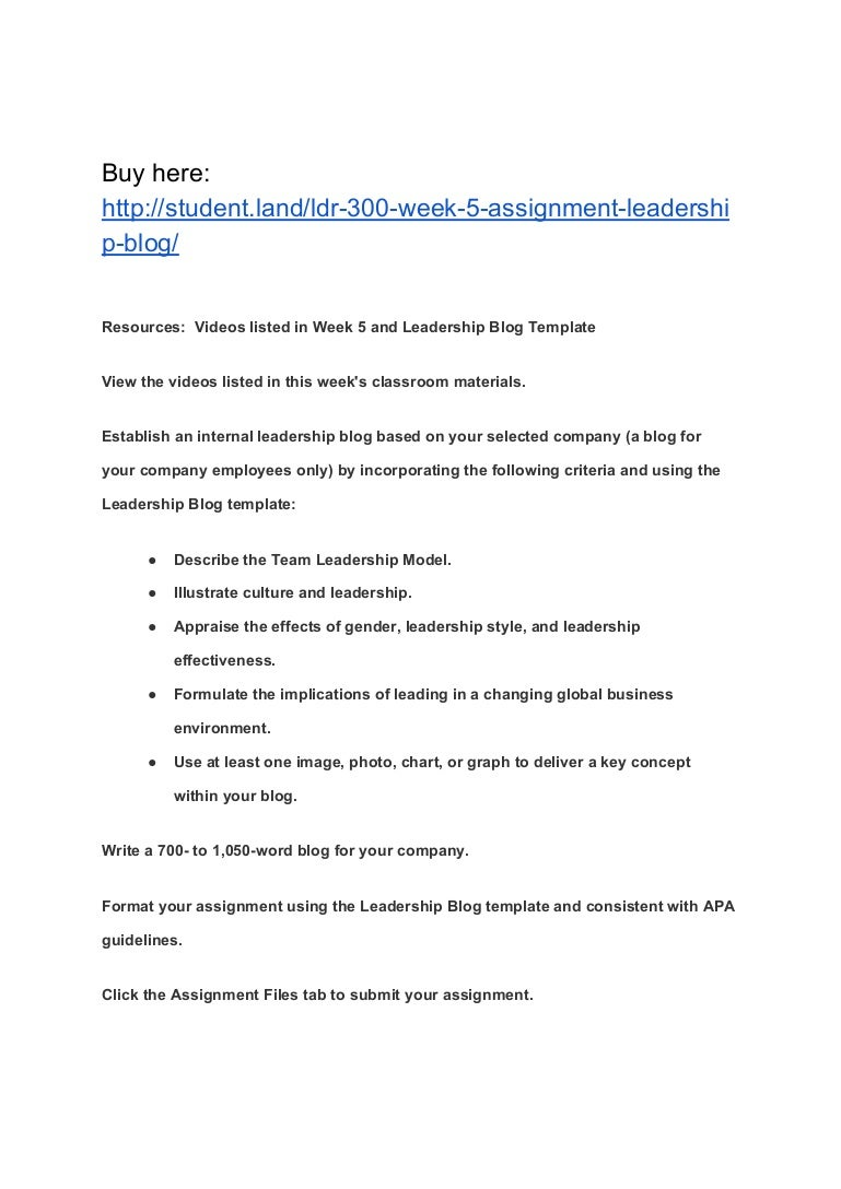 ldr 300 week 5 assignment leadership blog