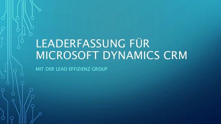 Leaderfassung Für Microsoft Dynamics Crm